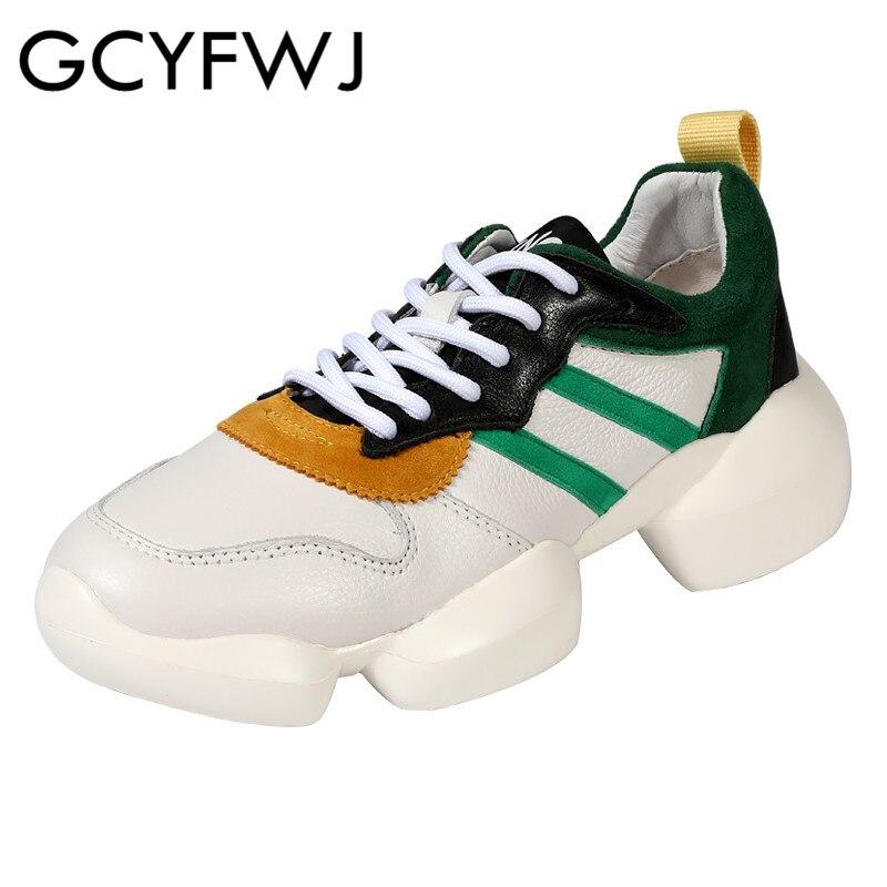GCYFWJ hauteur augmentant dames plate forme baskets femme en cuir nouvelle mode appartements femmes chaussures décontractées respirantes 2019 XF089-in Chaussures vulcanisées femme from Chaussures    1