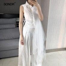 SONDR Irregular mesh patchwork stand collar tie waist slimming white shirt women 2019 summer dress new