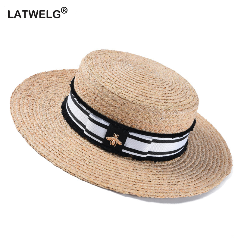 2019 Fashion Bee Summer Sun Hat For Women Natural Raffia Crochet Straw Hat With Ribbon Flat Panama Hat Summer Travel Beach Hats
