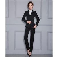 Damen Hose-klagen für Frauen Anzüge Formale Büro Anzüge Arbeiten Schwarz Set Professional Business Kleidung OL Styles Damenhosenanzüge
