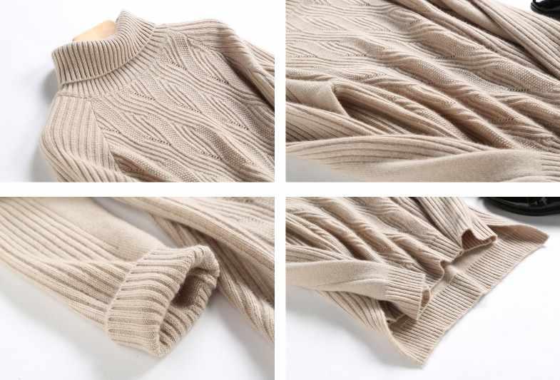 2019 고품질 가을 겨울 여성 캐시미어 울 터틀넥 스웨터 따뜻한 부드러운 느슨한 캐주얼 빈티지 야생 솔리드 풀 오버