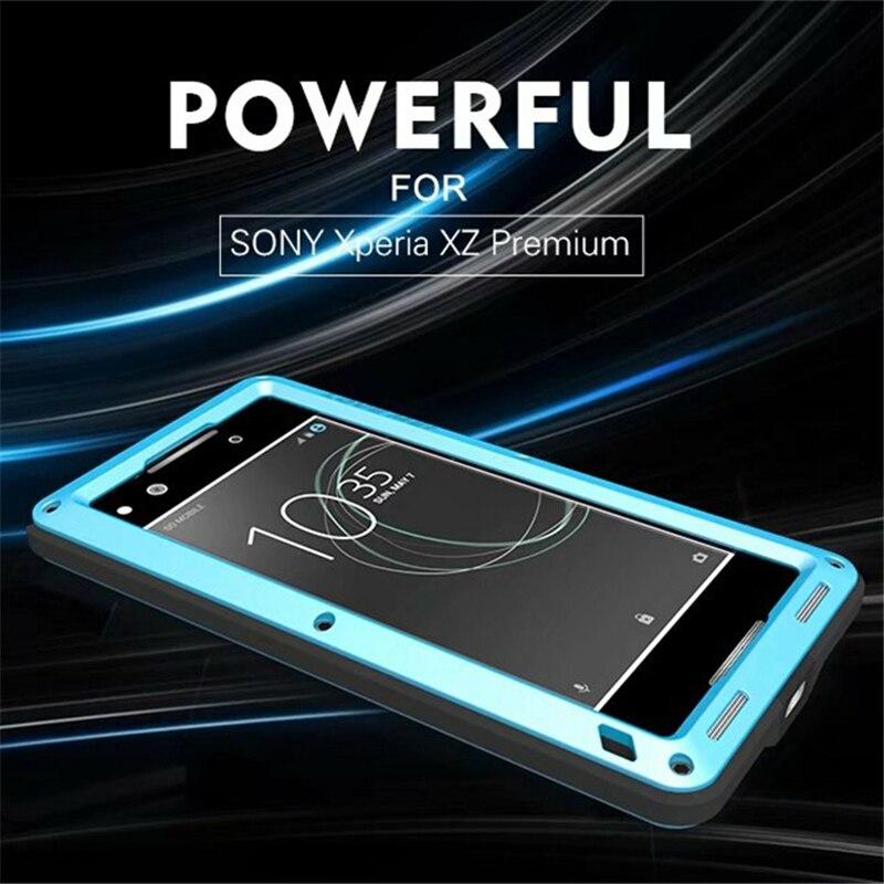 imágenes para Para sony xperia xz Premium Amor Mei prueba de Choques impermeable de metal caja del teléfono de la alta calidad de Cristal Templado para sony xz