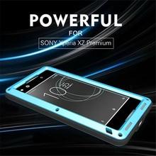 Для Sony Xperia XZ Премиум Любовь Мэй водонепроницаемый противоударный металлическая крышка чехлы для Sony XZ Премиум Закаленное стекло чехол для телефона