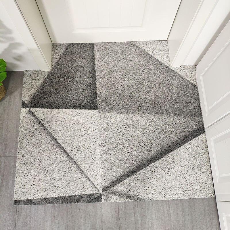 Tapis de porte d'entrée PVC fil boucle doux haute élasticité tapis motif géométrique style européen antidérapant salle de bains imperméable tapis de sol