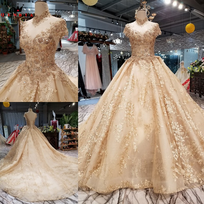 Gold Luxury   Evening     Dresses   Ball Gown Fluffy Lace Crystal Beaded Appliques 2018 Real Photo Robe De Soiree Party   Dress   DW08