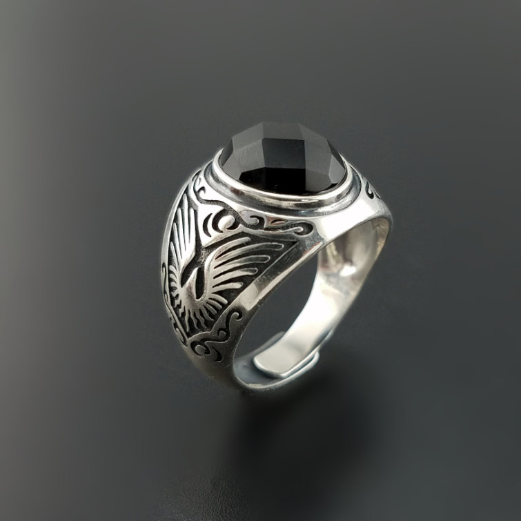 Одноцветное Серебро 925 натуральный черный оникс Камень Кольца Для мужчин Натуральный камень реальные 925 пробы Серебряные ювелирные изделия...
