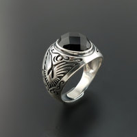 Solid Silver 925 Natural Black Onyx Stone Rings Men Natural Stone Real 925 Sterling Silver Jewelry