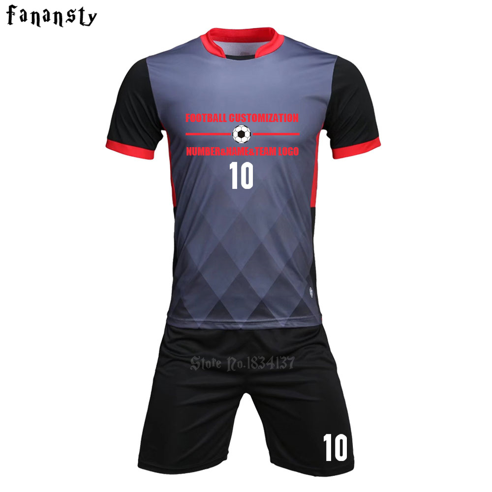 Top quality soccer jerseys 2017 2018 men customized football jerseys adult football uniforms sets suits kit maillots de football цена