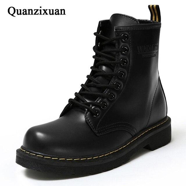 Зимние ботильоны, женские ботинки из искусственной кожи, модные ботинки martin, Женская рабочая обувь, Черная Женская обувь с круглым носком на шнуровке, женские ботинки