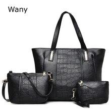 3 teile/satz Neue stil Frauen umhängetaschen damen big bags einfache beiläufige handtaschen trend bild verbund große tasche