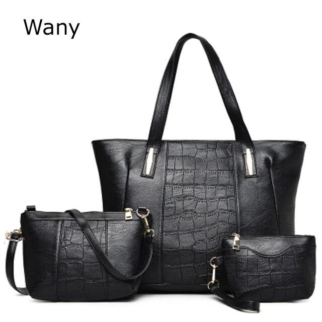 Комплект из 3 предметов новый стиль Для женщин сумки на плечо женские большие  сумки Простые повседневные 5db3af913a5