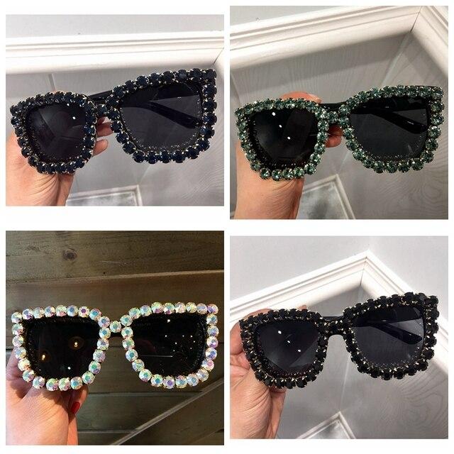 7f50703a7d 9 diseño de gafas de sol de lujo de las mujeres cuadrado gafas Vintage  Rhinestone Bling