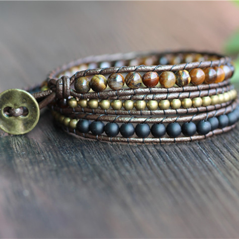 Triple Simple Leather Beaded Bracelet,Tiger Eye,Copper,Black Beaded Beaded Bracelet Friendship Bracelets Jewelry