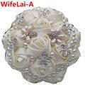 Perla Cinta Rhinestone Crema Flor color de Rosa Artificial de Seda Ramos de Novia Broche de La Boda de dama de Honor Nupcial Ramos de Puntada W225