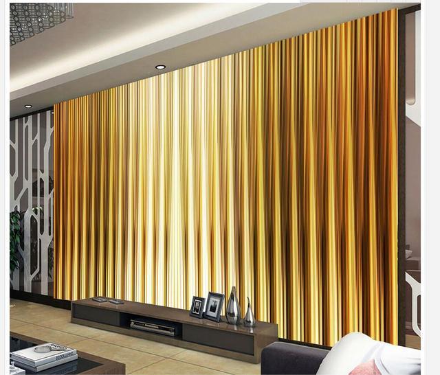 3d Stéréoscopique Papier Peint Décoration De La Maison Rayures Du0027or Toile  De Fond Murale