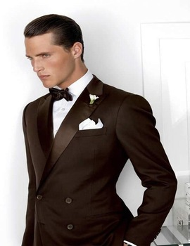 2017 New Dark Brown Slim Fit Tailcoat Two button Mens suits Peak Lapel Morning Style Tuxedos For wedding(Jacket+Pants+Bow)