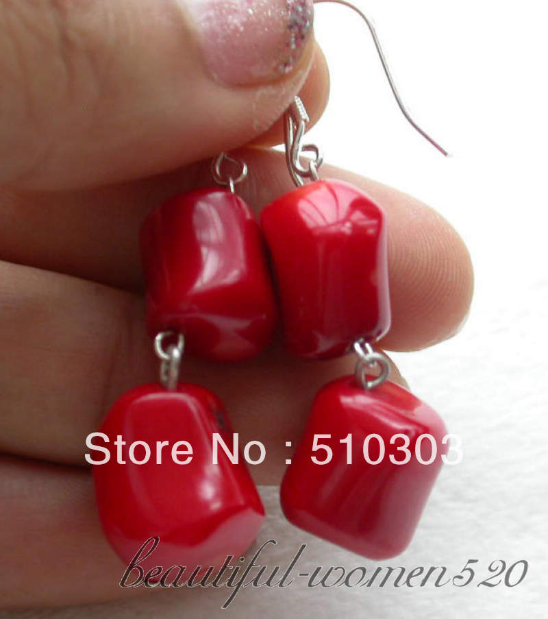 13mm nature massive red coral dangle earrings