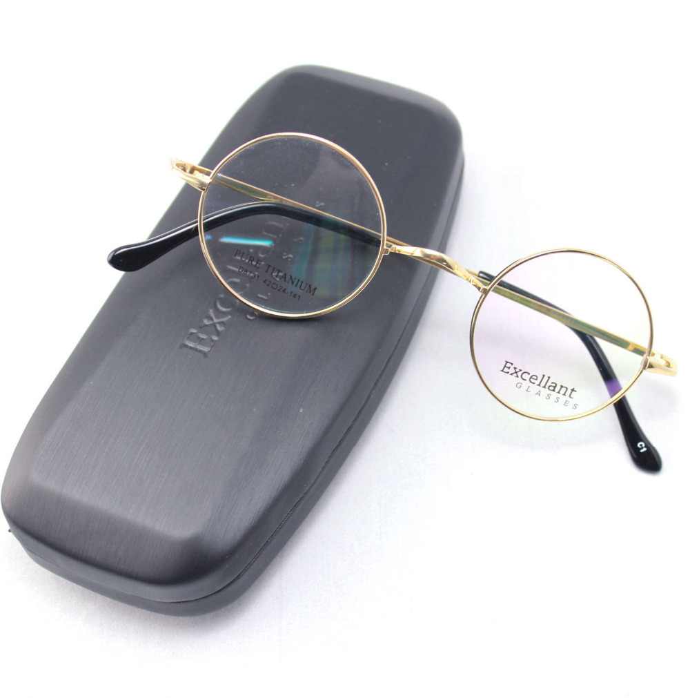 42mm Size Retro Vintage Eyeglass Frame Glasses Harry Potter Style Kacamata Eyeglasses Black Mewah Titanium Putaran Frames Hitam Abu Perak Coklat