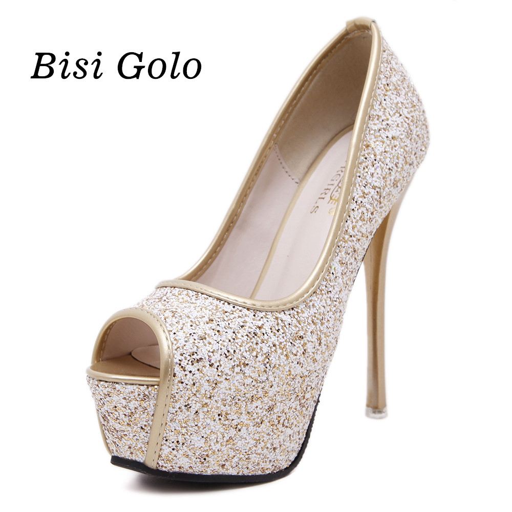 Wedding Gold Prom Shoes online buy wholesale gold glitter prom shoes from china new fashion women high heels peep toe platform pumps sexy ladies party shoes