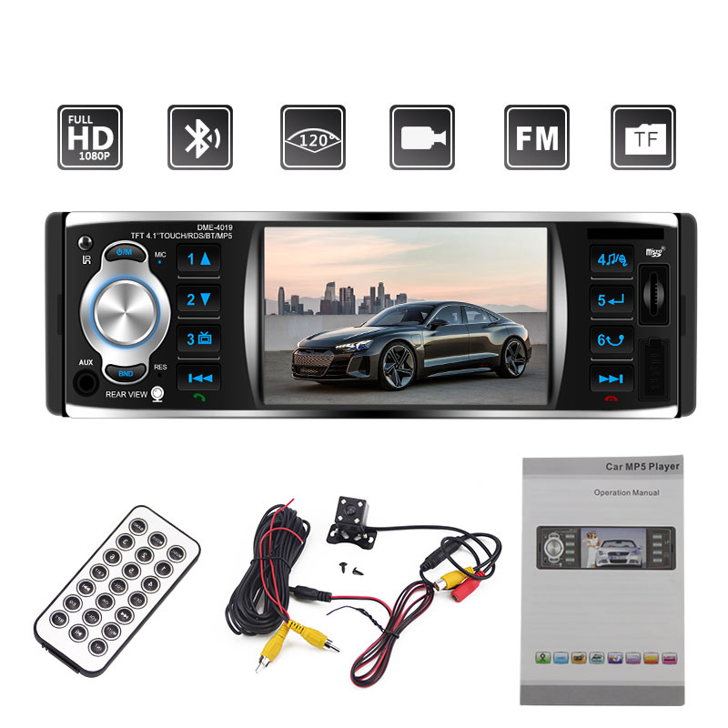1din Car Radio 4.1 Inch Touch Screen Car Radio Auto Radio Mirror Link Stereo Bluetooth Rear View Camera USB Player 4019B MP5