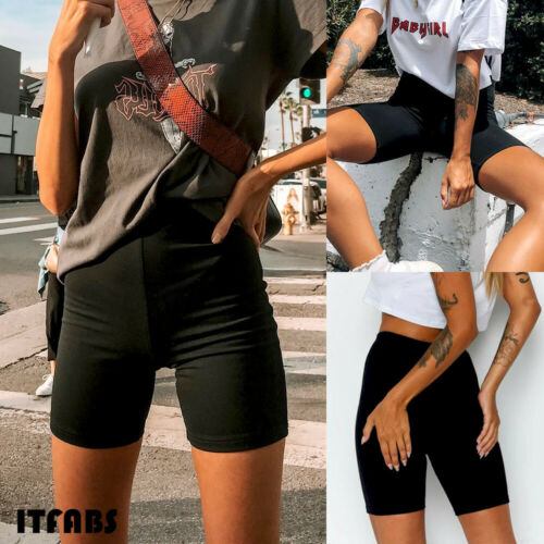 2019 New Hot Summer Fashion Latest Womens Slim Shorts Black Beach Elastic Waist High Waist Short Trousers