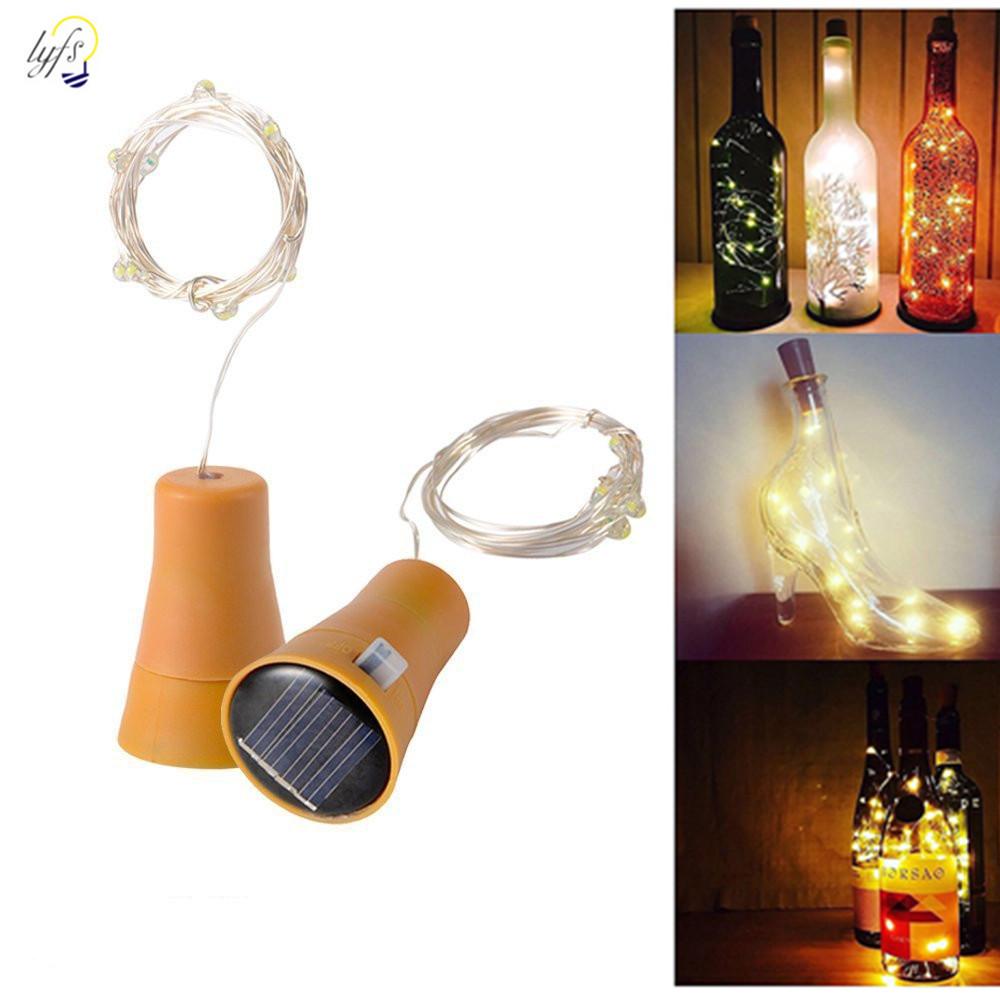 LYFS LED Solar Lamps Wine Bottle Copper Wire Fairy String Lights Waterproof Garden Christmas Wedding Party Decoration Outdoor