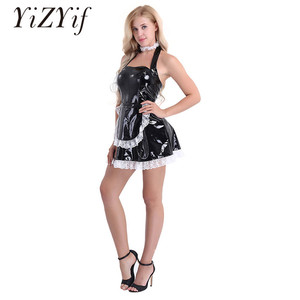 Image 1 - Sissy Dress Sexy French Maid Uniform Anime Cosplay Costume Wet Look Maidservant Outfits Halter Babydoll Dress Sissy Maid Uniform