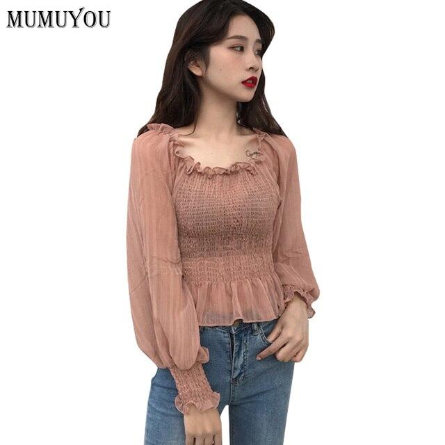 Mulheres Off Ombro Camisa Puff Manga Comprida Plissada Chiffon Blusa Bordado  Tops Doce Camisas Rua Rosa 34262f5eb92