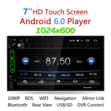 "2017 7 ""FHD Tela de Toque Capacitivo 2 din android 6.0 Car Radio Media Player MP5 Wi-fi Embutido GPS RK-A705 com vista traseira câmera"