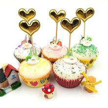 5pcs/set Golden Heart Birthday Cupcake Cake Topper Flags Baby Shower Party Decoration Baking Supplies