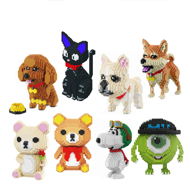 באבו cartoon מייק מפלצת אוניברסיטת בעלי החיים כלב חתול ילדים פלסטיק בניין בלוק פעולה דמויות בני חינוכיים צעצוע 8801 8808