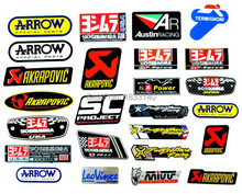 25 pcs 3D Aluminum Heat-resistant Aluminium Motorcycle Exhaust Pipes Decal Sticker For Scorpio Yoshimura Akrapovic