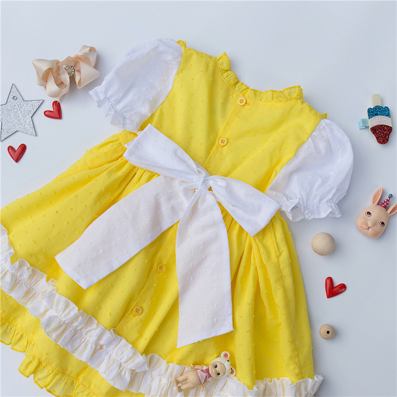 Style rétro espagnol bébé été coton robe de princesse filles à manches courtes jaune robe de fête d'anniversaire pour enfants bébé filles