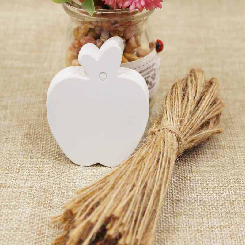 zerongE jewelry Apple Shape brown Paper gift swing tagging tag black/white garment cloth products tag labe 200pcs+200 ropes 4