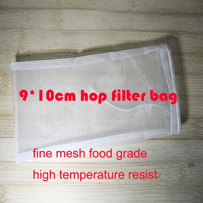 Hot koop 5 stk / partij 9 * 10 cm fijn mesh food grade thuis brouwen hop filter tas soep kruiden filter tas nylon mesh thee filter tas wijn