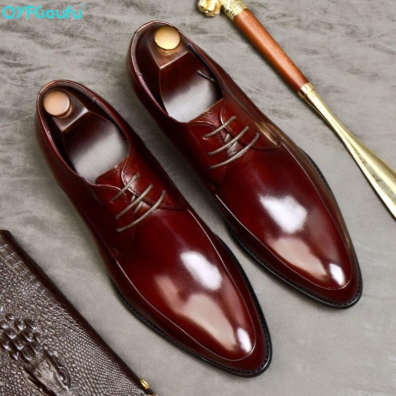 QYFCIOUFU 2019 New Quality Cow Leather Men Shoes Soft Man Dress Genuine Pointed Toe Luxury Designer US 11.5