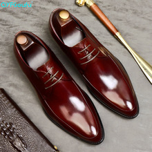 QYFCIOUFU 2019 New Quality Cow Leather Men Shoes Soft Man Dress Genuine Pointed Toe Luxury Designer US 11.5