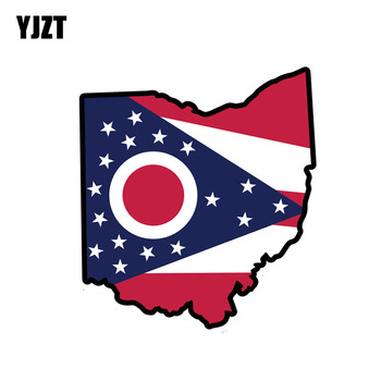 YJZT 12.3CM*13.8CM Car Accessories Ohio State Flag Map Reflective Car Sticker 6-1122 image