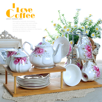 Free Shipping D Angleterre Coffee Set 15 Piece Set Ceramic Fashion Tea Set Wooden Stand Wedding