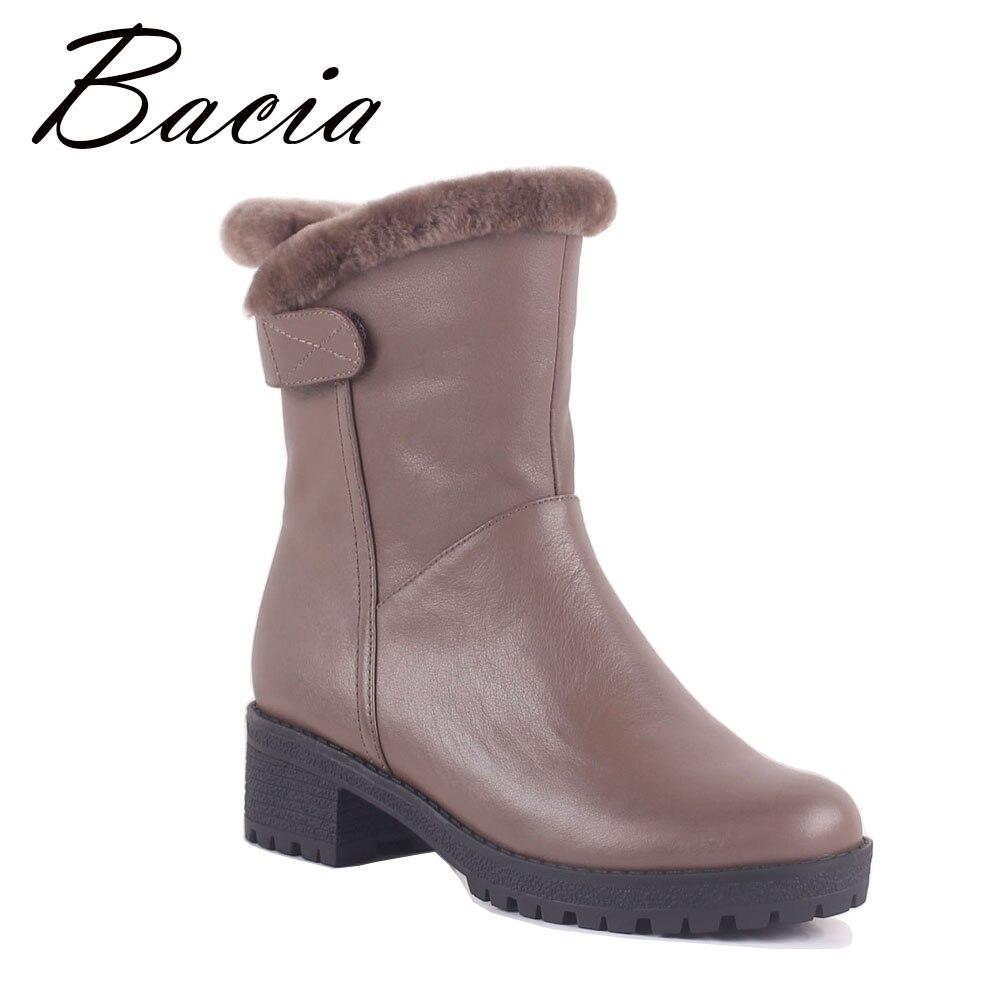 Bacia 2017 invierno grueso tacón botas señoras bota corta de cuero genuino botas zapatos de piel de lana tamaño 35-41 MC017
