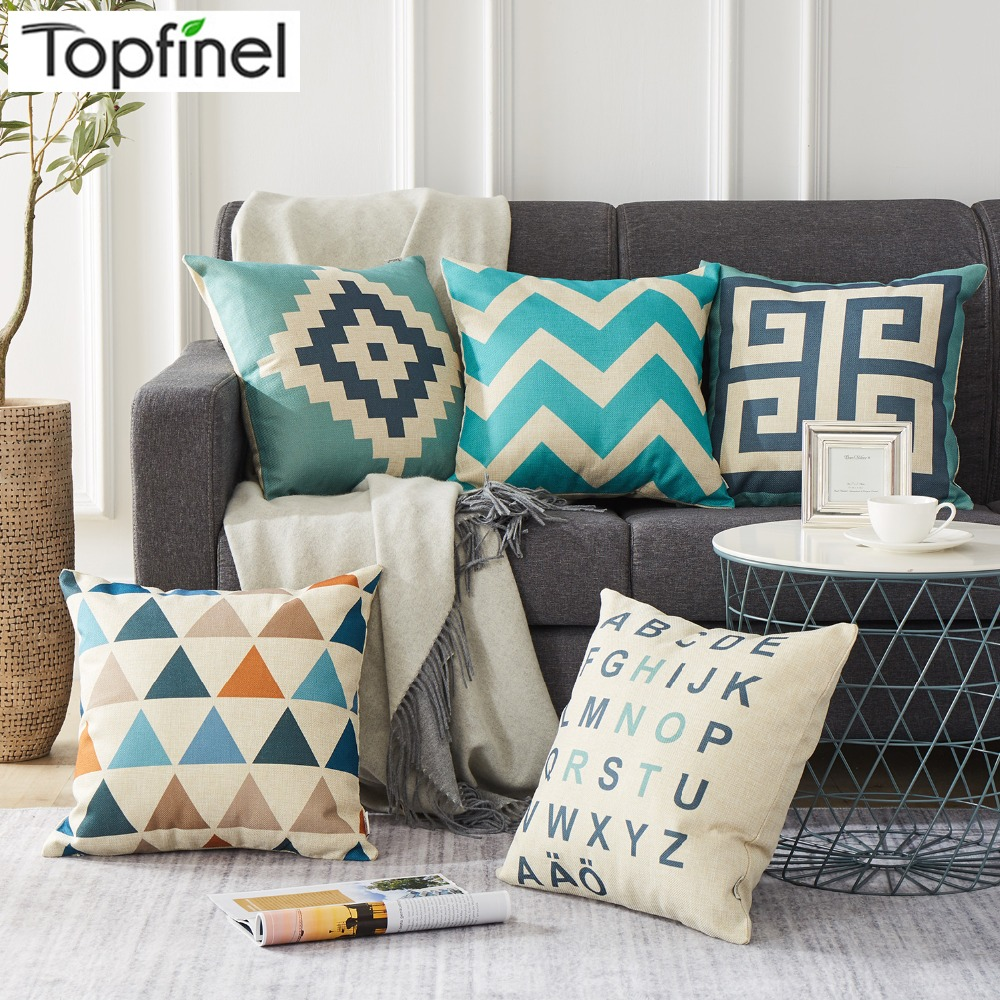 Topfinel Geometric Decorative throw Pillow case Linen Cotton Cushion Cover Creative decoration for Home Sofa Car covers 45X45cm