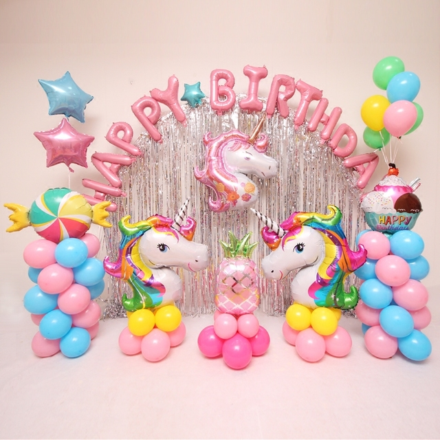 1pcs Baby Girl Happy Birthday Party Decorations Foil Balloons Rainbow Pink Purple Unicorn Balloon Supplies Helium Ballons