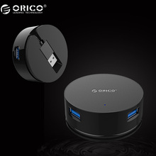 ORICO LHA-U3 4 Port Windable USB3.0 HUB 20CM Portable Cable Mini Size Support Drive Free and Hot Swapping-Black