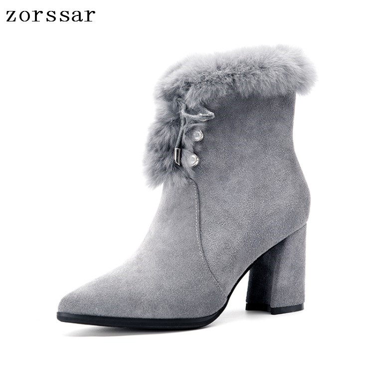 {Zorssar} Pointed toe High Heels Women Ankle Boots Suede Leather Women Snow Boots Winter Short Plush Inside Thick heel shoes contact s thin genuine leather men wallet small casual wallets purse card holder coin mini bag top quality cow leather carteira