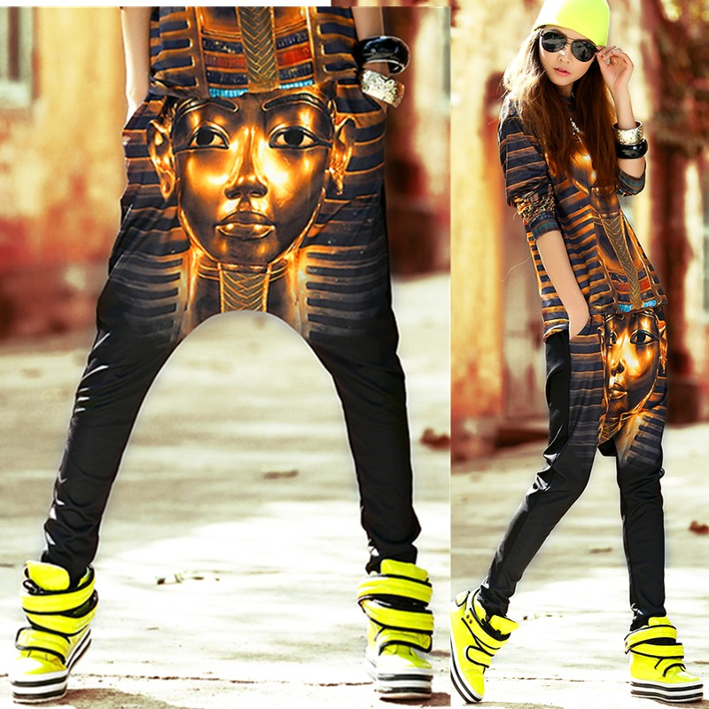 2014 New fashion spring summer  Hip Hop Dance skinny Pants Sweatpants Costumes Mummy Print stage performance wear harem trousers