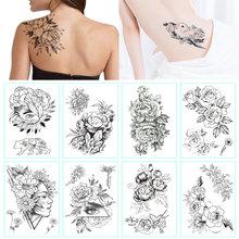 Модный черно-белый цветок, тату, наклейка для женщин, боди-арт, пион, роза, водостойкая, переводная временная татуировка