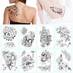 Модная черно-белая татуировка в форме цветка наклейка женский боди-арт пион роза Водонепроницаемый водопереводной временный тату