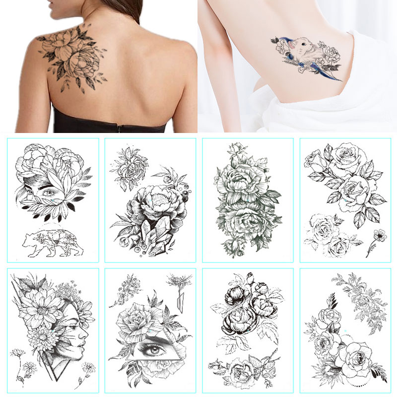 Fashion Black White Flower Tattoo Sticker Women Body Art Peony Rose Waterproof Water Transfer Temporary Tattoo