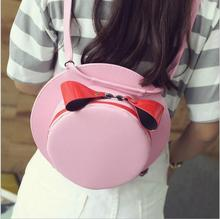 Women Bags Fashion Travel Backpack Printing PU Leather Backpacks for Girls Mini Bag Lovely Cap Backpack Girls Travel Backpacks.. free shipping real photo 2017 mini pu mini backpack cheap women backpacks black bb108