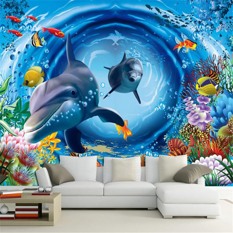 Undersea World Dolphin Children Wallpapers 3D Murals Animals Cartoon Photo Wallpapers for Living Room Wall Papers Home Decor stylish dolphin pattern 3d wall sticker for home decor